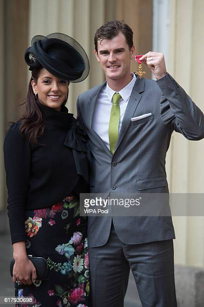 Jamie Murray with his wife Alejandra Gutierrez after receiving his Officer of the Order of the British Empire for services to his sport and charity...