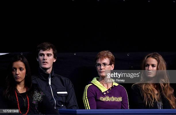 Jamie Murray's wife Alejandra Gutierrez tennis player Jamie Murray Andy Murray's mother Judy Murray and Andy Murray's girlfriend Kim Sears attend the...