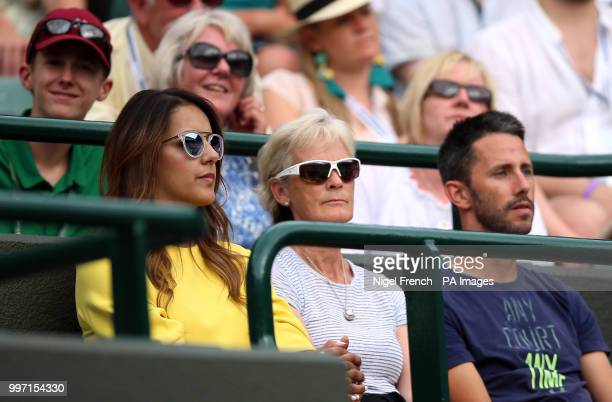 Jamie Murray's wife Alejandra Gutierrez with his mother Judy Murray on day ten of the Wimbledon Championships at the All England Lawn Tennis and...