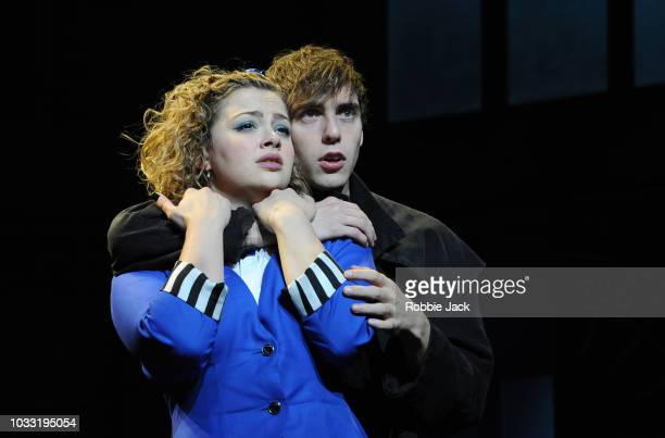 Jamie Muscato as Jason Dean and Carrie Hope Fletcher as Veronica Sawyer in the stage production Heathers The Musical directed by Andy Fickman at...