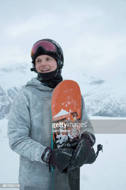 Jamie Nicholls after jumping on the brand new GB Park Pipe winter training facility in Mottolino Snow Park on 4th December 2017 in Livingo Italy The...