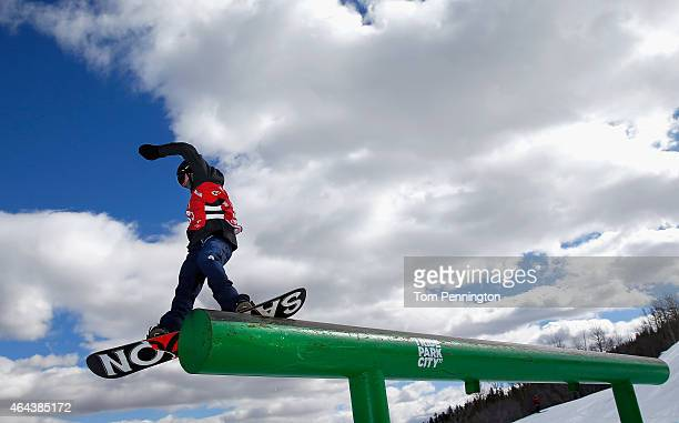 Jamie Nicholls competes during qualifying for the FIS Snowboard World Cup 2015 Men's Slopestyle during the US Grand Prix at Park City Mountain on...