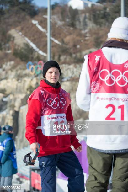 Jamie Nicholls Great Britain during the men's snowboard big air qualification at the Pyeongchang 2018 Winter Olympics on February 21st 2018 at the...