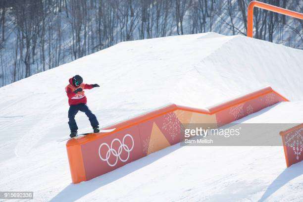Jamie Nicholls Great Britain during the snowboard slopestyle practice on the 8th February 2018 at Phoenix Snow Park for the Pyeongchang 2018 Winter...