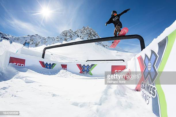 Jamie Nicholls of England performs during the Slopestyle snowboard training sessions during day two of Winter X Games Europe 2013 on March 19 2013 in...