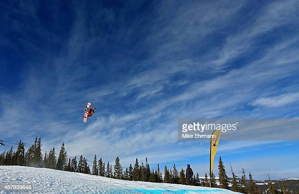 Jamie Nicholls of Great Britain competes during qualifying for the mens FIS Snowboard Slopestyle World Cup at US Snowboarding and Freeskiing Grand...