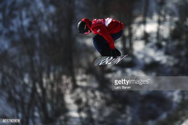 Jamie Nicholls of Great Britain competes during the Men's Big Air Qualification Heat 1 on day 12 of the PyeongChang 2018 Winter Olympic Games at...