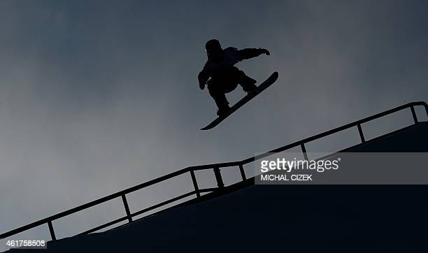 Jamie Nicholls of Great Britain competes during the Men's Snowboard Slopestyle Qualification at the FIS Freestyle and Snowboarding World Ski...