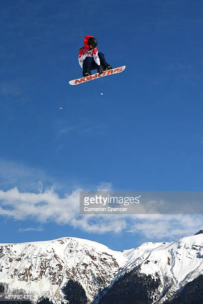 Jamie Nicholls of Great Britain competes during the Snowboard Men's Slopestyle Semifinal during day 1 of the Sochi 2014 Winter Olympics at Rosa...