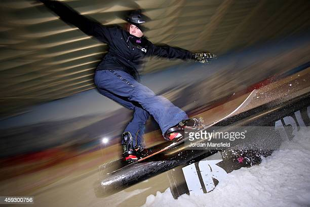 Jamie Nicholls of Great Britain grinds a rail during a Media Session on November 20 2014 at The Snow Centre in Hemel Hempstead England