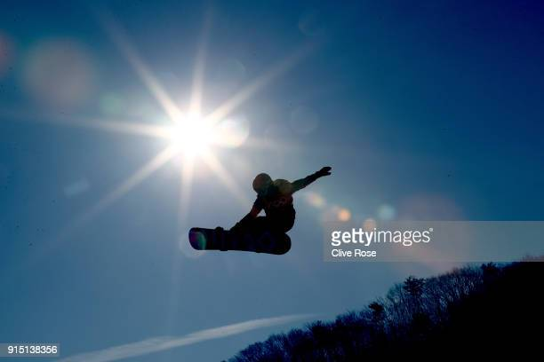 Jamie Nicholls of Great Britain in action during slope style training ahead of the PyeongChang 2018 Winter Olympic Games at Pheonix Park on February...
