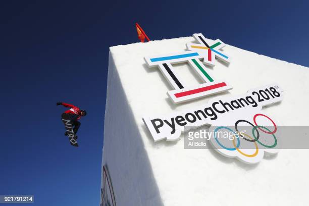 Jamie Nicholls of Great Britain practices prior to the Men's Big Air Qualification on day 12 of the PyeongChang 2018 Winter Olympic Games at Alpensia...