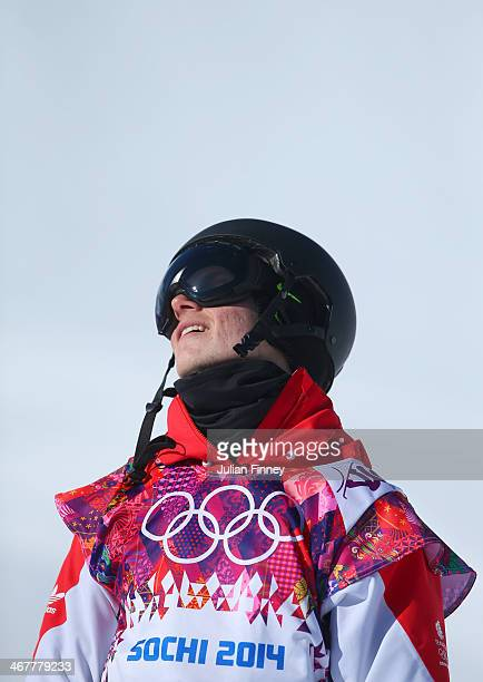 Jamie Nicholls of Great Britain reacts after his second run during the Snowboard Men's Slopestyle Final during day 1 of the Sochi 2014 Winter...