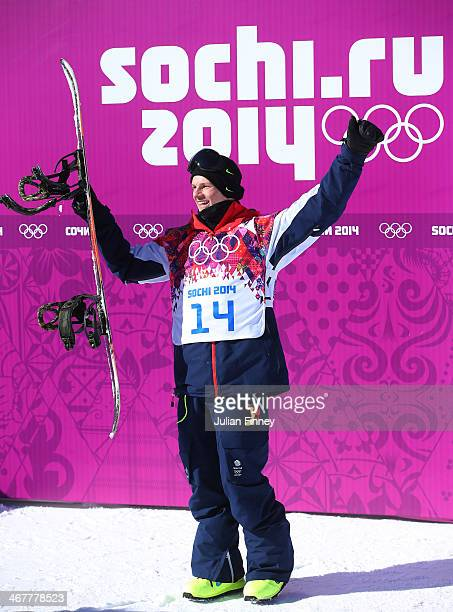 Jamie Nicholls of Great Britain reacts after receiving his score in his first run during the Snowboard Men's Slopestyle Final during day 1 of the...