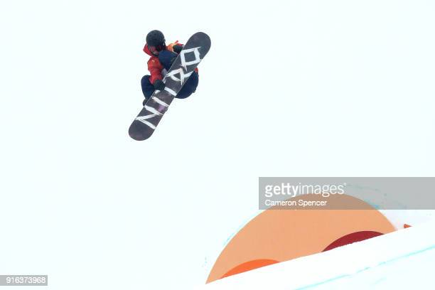 Jamie Nicholls of Great Britain trains ahead of the Men's Slopestyle qualification on day one of the PyeongChang 2018 Winter Olympic Games at Phoenix...
