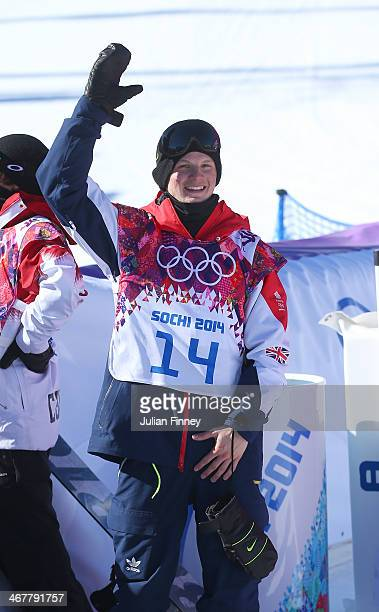 Jamie Nicholls of Great Britain waves after his second run during the Snowboard Men's Slopestyle Final during day 1 of the Sochi 2014 Winter Olympics...