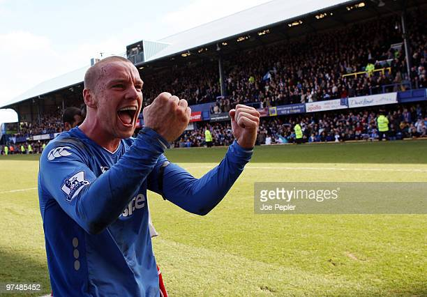 Jamie O'Hara of Portsmouth celebrates win after the FA Cup sponsored by EON 6th Round match between Portsmouth and Birmingham City at Fratton Park on...