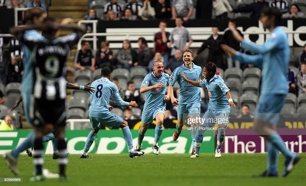 Jamie O'Hara of Tottenham Hotspur celebrates after scoring during the Carling Cup Third Round match between Newcastle United and Tottenham Hotspur at St James' Park on September 24, 2008 in Newcastle, England.