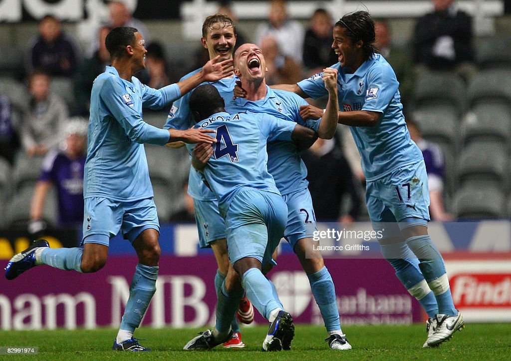 Jamie O'Hara of Tottenham Hotspur celebrates with his team mates after scoring his team's second goal during the Carling Cup Third Round match between Newcastle United and Tottenham Hotspur at St James' Park on September 24, 2008 in Newcastle, England.