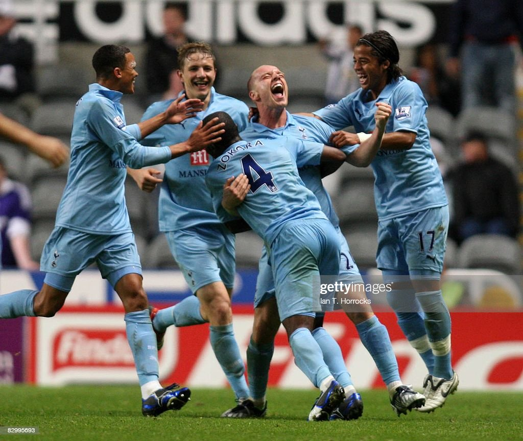 Jamie O'Hara of Tottenham Hotspur is congratulated after scoring during the Carling Cup Third Round match between Newcastle United and Tottenham Hotspur at St James' Park on September 24, 2008 in Newcastle, England.