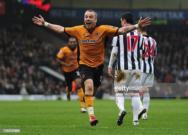 Jamie O'Hara of Wolverhampton Wanderers celebrates his goal during the Barclays Premier League match between West Bromwich Albion and Wolverhampton...