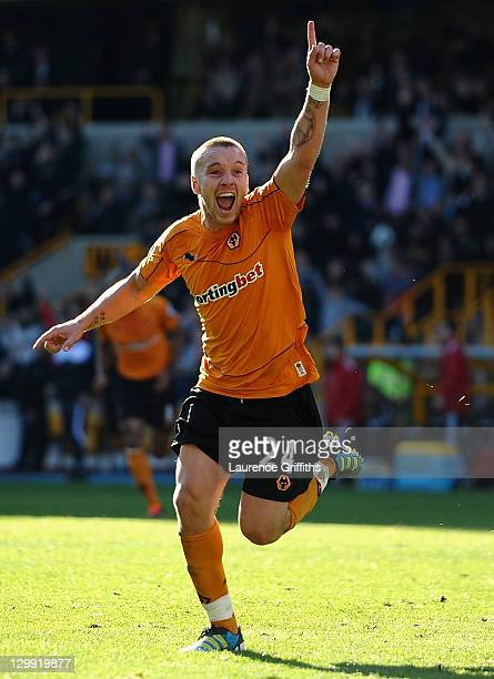 Jamie O'Hara of Wolves celebrates the equaliser during the Barclays Premier League match between Wolverhampton Wanderers and Swansea City at Molineux...