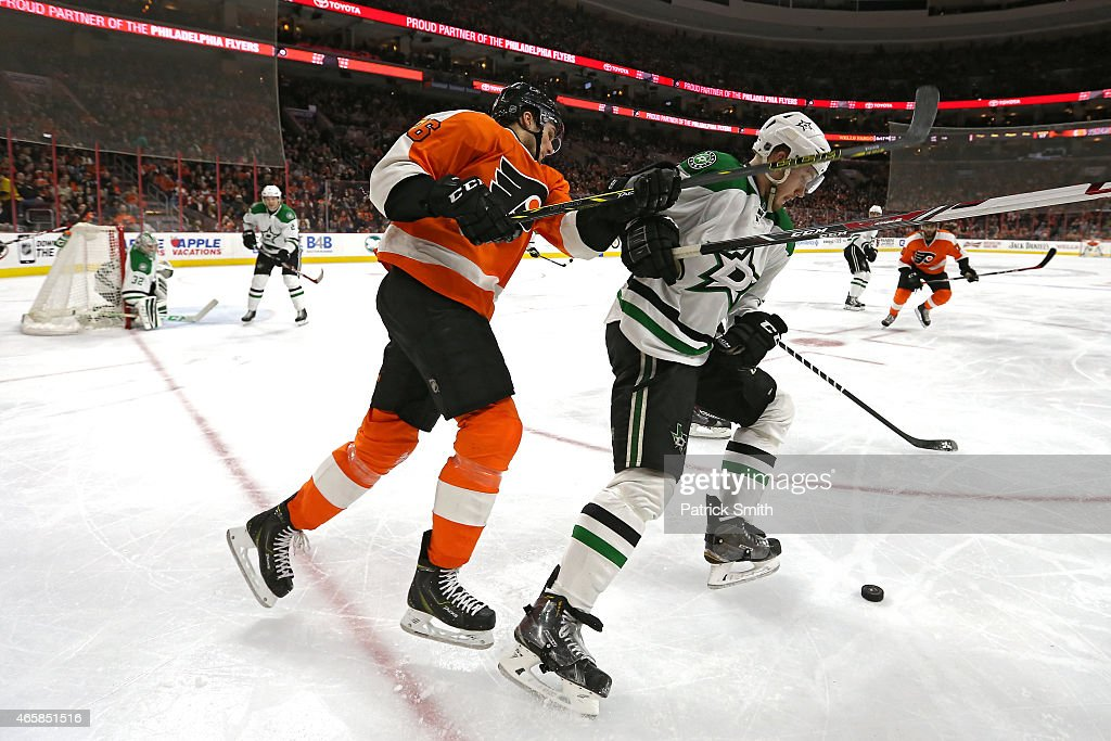 Jamie Oleksiak #5 of the Dallas Stars and Chris Vande Velde #76 of the Philadelphia Flyers battle for the puck in the second period at Wells Fargo Center on March 10, 2015 in Philadelphia, Pennsylvania.