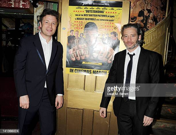 Jamie Oliver and Dexter Fletcher attend a private screening of Dexter Fletcher's directorial debut 'Wild Bill' hosted by chef Jamie Oliver at The Box...