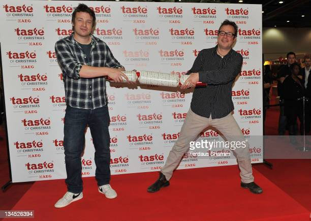 Jamie Oliver and Hugh Fearnley Whittingstall attend the opening of Taste Of Christmas Food And Drink Festival at ExCel on December 2 2011 in London...