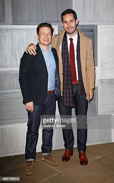 Jamie Oliver and Instagram's Kevin Systrom arrives at their second annual private party taking place at Barbecoa on March 9 2015 in London England