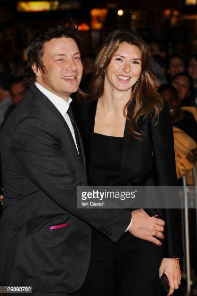 Jamie Oliver and Jools Oliver attend the 'Wild Bill' premiere during the 55th BFI London Film Festival at Vue West End on October 21 2011 in London...