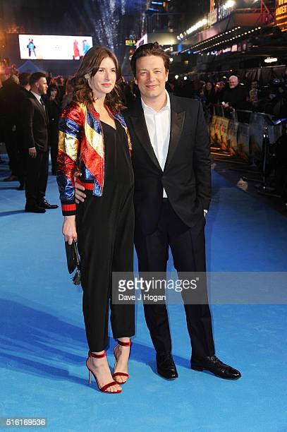 Jamie Oliver and Juliette Norton attend the European premiere of 'Eddie The Eagle' at Odeon Leicester Square on March 17 2016 in London England