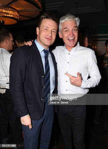 Jamie Oliver and Phillip Schofield attend Jamie Oliver's new Barbecoa restaurant a classic steakhouse reimagined in the heart of Piccadilly on...