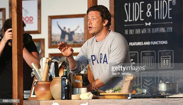 Jamie Oliver attends a cooking demonstration at the Neff Big Kitchen on day two of The Big Feastival at Alex James' Farm on August 27 2016 in Kingham...
