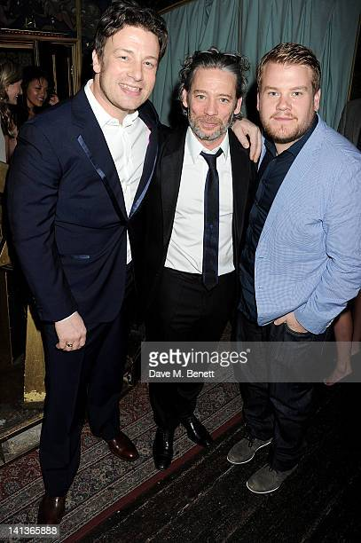 Jamie Oliver, Dexter Fletcher and James Corden attend a private screening of Dexter Fletcher's directorial debut 'Wild Bill' hosted by chef Jamie...
