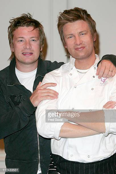 Jamie Oliver with his waxwork likeness during Jamie Oliver Unveils His Waxwork at Madame Tussauds in London at Madame Tussauds in London Great Britain