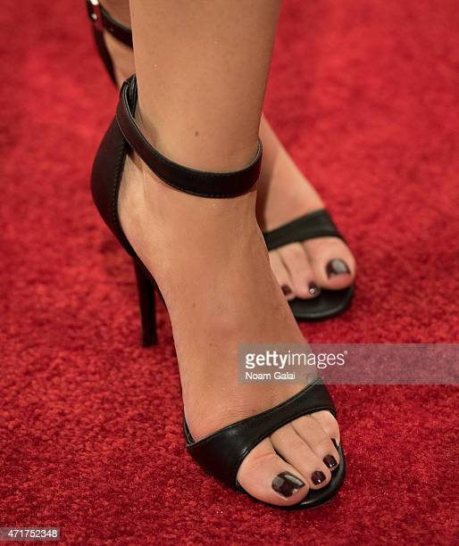 Jamie Otis shoe detail attends the 2015 AE Network Upfront at Park Avenue Armory on April 30 2015 in New York City