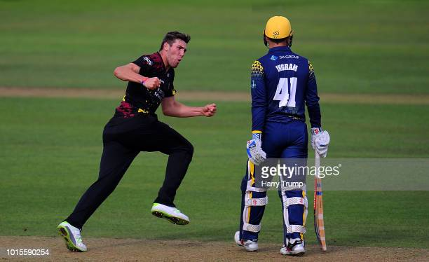Jamie Overton of Somerset celebrates after dismissing Colin Ingram of Glamorgan during the Vitality Blast match between Somerset and Glamorgan at the...