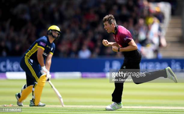 Jamie Overton of Somerset celebrates the wicket of Rilee Rossouw of Hampshire during the Royal London One Day Cup Final match between Somerset and...