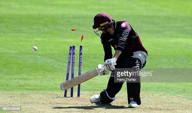 Jamie Overton of Somerset is bowled by Tom Helm of Middlesex during the Royal London OneDay Cup match between Somerset and Middlesex at The Cooper...