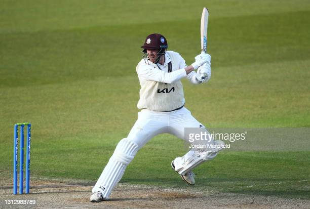Jamie Overton of Surrey during day three of the LV= Insurance County Championship match between Surrey and Leicestershire at The Kia Oval on April...