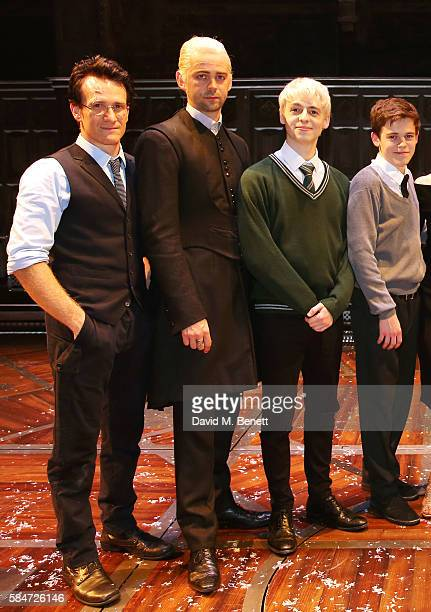 Jamie Parker Alex Price Anthony Boyle and Sam Clemmett attend the press preview of 'Harry Potter The Cursed Child' at The Palace Theatre on July 30...
