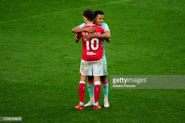 Jamie Paterson of Bristol City and Korey Smith of Swansea City at full time during the Sky Bet Championship match between Bristol City and Swansea...