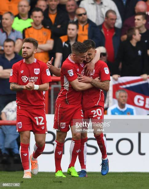 Jamie Paterson of Bristol City celebrates after scoring a goal to make it 10 during the Sky Bet Championship match between Bristol City and...