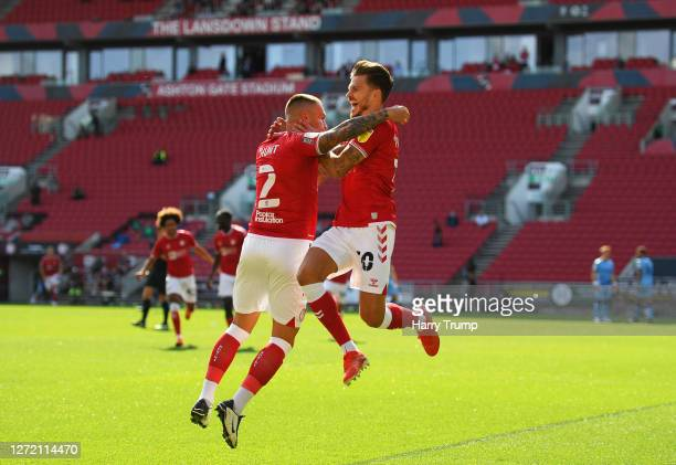 Jamie Paterson of Bristol City celebrates after scoring his sides first goal with Jack Hunt of Bristol City during the Sky Bet Championship match...