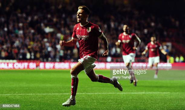 Jamie Paterson of Bristol City celebrates his sides first goal during the Sky Bet Championship match between Bristol City and Aston Villa at Ashton...