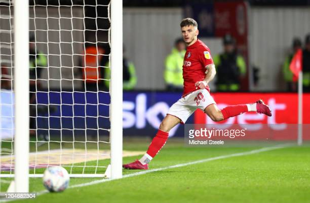 Jamie Paterson of Bristol City scores his sides first goal during the Sky Bet Championship match between Bristol City and Birmingham City at Ashton...