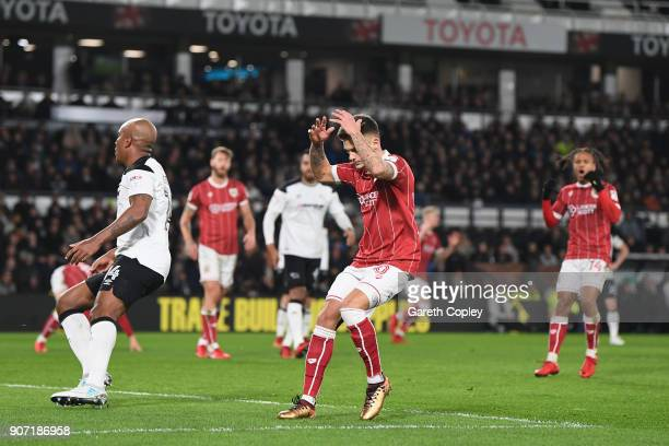 Jamie Paterson of Bristol reacts after missing a chance during the Sky Bet Championship match between Derby County and Bristol City at the iPro...