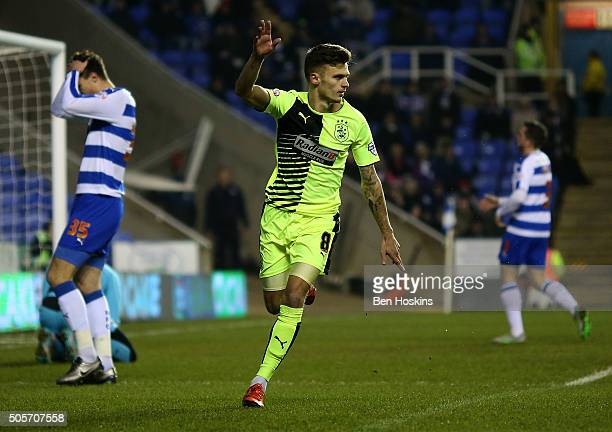 Jamie Paterson of Huddersfield celebrates after scoring the opening goal of the game during The Emirates FA Cup Second Round match between Reading...