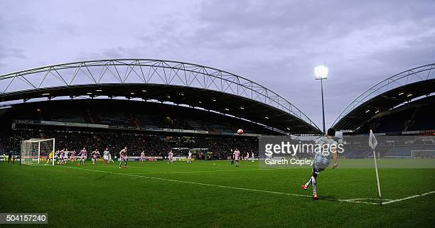 Jamie Paterson of Huddersfield Town takes a corner kick during The Emirates FA Cup Third Round between Huddersfield Town and Reading at John Smiths...